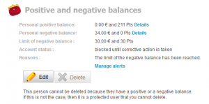 Positive and negative balances