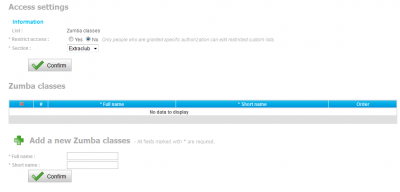 Access settings of Zumba classes